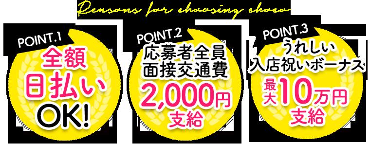 Point.1 日払いOK!/Point.2 面接交通費2,000円支給/Point.3 移籍ボーナス最大10万円支給